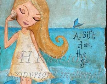 Beach Decor, Beach Wall Art, Beach Girl, Coastal Wall Art, Childrens Art, Nautical Decor, Ocean Art, Print Size 8x10 or 5x7 by HRushton