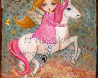 Unicorn Decor- Children's Wall Art- Nursery Art - Unicorn Art- Girls Wall Art- Gifts for Kids- Print Sizes 8 x 10 and 5x7 by HRushton