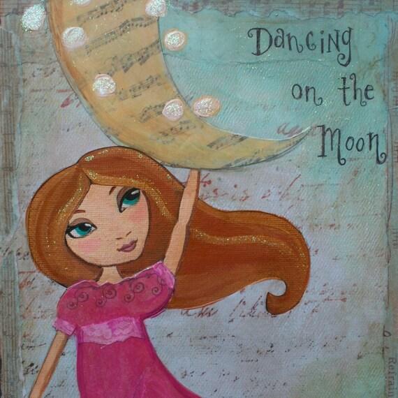 Dancing On The Moon. Mixed Media Art Print 4x6