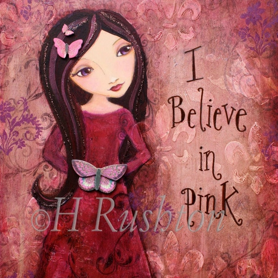 Inspirational Quote, Mixed Media Art,  Folk Art Girl, Shabby Girls Decor- Art Print Size 8 x 10