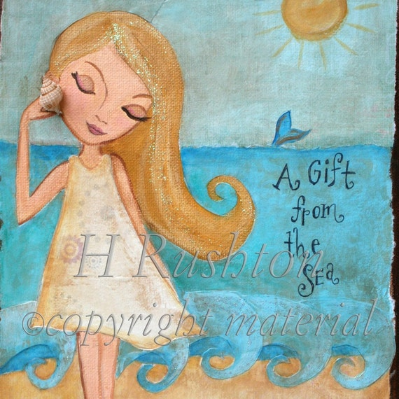 Beach Decor, Beach Wall Art, Beach Girl, Coastal Wall Art, Childrens Art, Nautical Decor, Ocean Art, Print Size 8x10 or 5x7 by HRushton