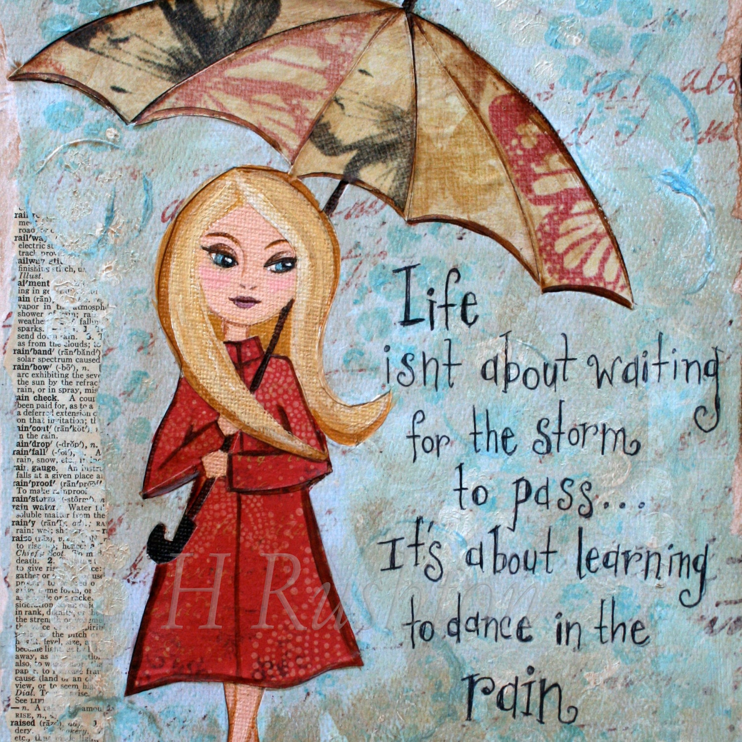 Positive Quotes Rain: Inspirational Quote Rainy Day Art Mixed Media Motivational