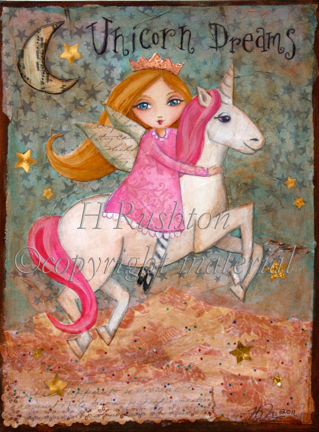 Unicorn paintings for kids the image for Hanging kids artwork