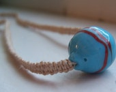 Fine Natural Hemp with Blue Glass Bead