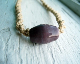 Natural Hemp with Lilac Purple Glass Bead