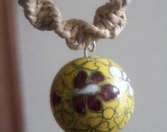 Natural Hemp Necklace with Yellow Ceramic Bead