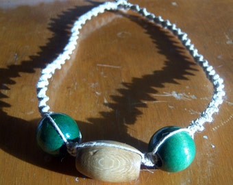 Natural Hemp with Large Wooden Green and Natural Beads