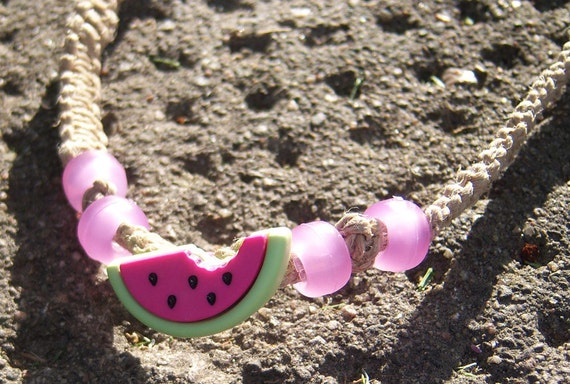 Watermelon on Natural Hemp with Colour-Changing Beads