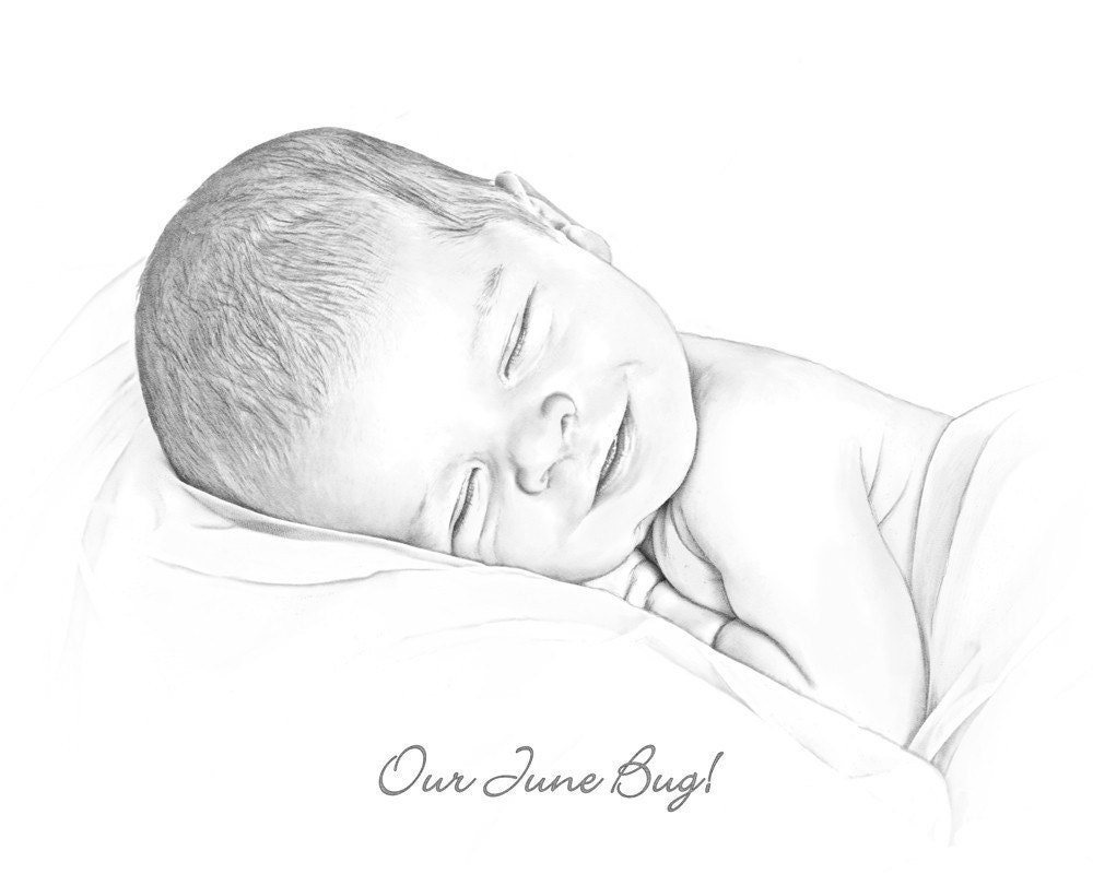 Custom 5x7 Digital Portrait Drawing of your newborn infant