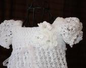 Christening Gown / Blessing Dress / Christening Dress / Baptism Dress / Confirmation / Crochet Treasured Heirloom / The Ella