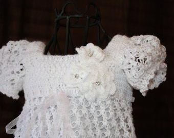 Christening Gown / Blessing Dress / Christening Dress / Baptism Dress / Confirmation / Crochet Treasured Heirloom / The Ella
