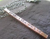 Copper Fence Post Necklace with inscription . personalized with your names . oxidized finish . chain included