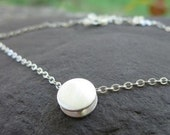 Moondust Slider Reversible Sterling Silver Necklace . both satin and hammered textures . layer necklace