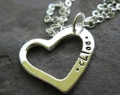 personalized sterling silver small heart necklace . ((Mini Heart)) . custom stamped lowercase font . best friends pendant . valentine gift