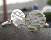 sterling silver hammered cufflinks . wedding or anniversary gift . made to order