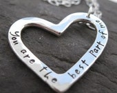 Journal Heart Pendant . sterling silver . inscribed and personalized . chain included . made to order