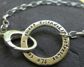 sterling silver circle bracelet with engraved inscription . (( Journal Circle )) . RESERVED for brandielicious . for adjustment