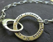 sterling silver circle bracelet with engraved inscription . (( Journal Circle )) . personalized with your words in Journaling Lowercase Font