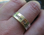 sterling silver band with stamped message . (( Sweet Sentiments )) . to high places by narrow roads . READY TO SHIP size 12