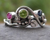 unique multi stone mothers or family ring . sterling silver & 3 birthstones . (( Wild Garden Mother's Ring )) . customized and made to order