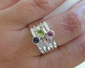 personalized stamped mothers stacking rings with birthstones . sterling silver . (( Mothers Stackers )) . set of 5 . made in your size