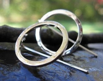 sterling silver circle earrings . ((Simple, Everyday Circle Earrings)) . with bent-post earwires . small 3/4 inch diameter . made to order