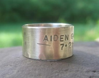 sterling silver rustic wide band with words . weather-worn finish . rustic wedding band . made to order in your size