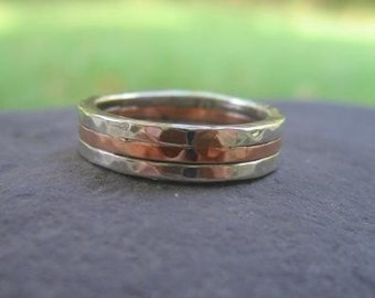 mens wedding band . sterling silver and copper . (( Triad Hammered Band )) . made to order