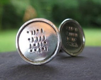 sterling silver cuff links . ((Geek Love)) . personalized with binary code inscription . grooms gift . made to order