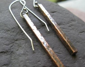 oxidized copper and sterling silver earrings . ((Fence Post Earrings)) . READY TO SHIP