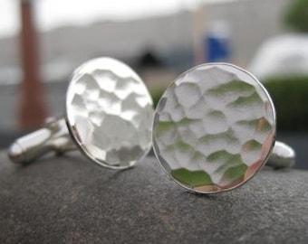 sterling silver hammered cufflinks . wedding gift . anniversary gift . husband gift . groomsmen gift . handmade cuff links . made to order