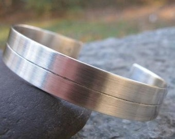 sterling silver mans cuff . ((Center Line Cuff)) . personalized custom inscription inside . husband cuff . boyfriend cuff . for him or her