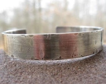 Rustic Personalized Mens Sterling Silver Cuff Bracelet. weather-worn finish . custom inscribed with your words
