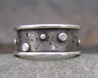 dark sterling silver wide band . (( Starscape Ring )) . unisex band . READY TO SHIP in size 6.5 . discontinued design . sale price