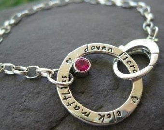 stamped personalized sterling silver circle bracelet with birthstone . ((Journal Circle Bracelet)) . mothers bracelet . birthstone bracelet