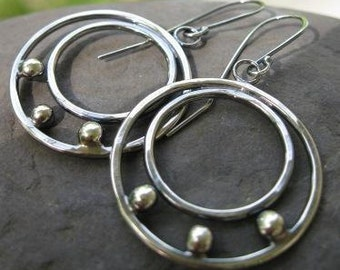 sterling silver large double hoop earrings . ((Double Dot Hoops)) . oxidized/brushed finish . last pair . READY TO SHIP . reduced price