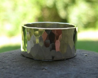 Hammered Wide Sterling Silver Band . 3/8 inch wide . hammered to a faceted shine . unisex . READY TO SHIP in size 5