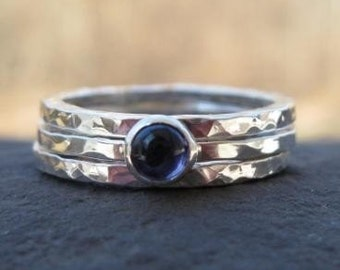 Skinny Sterling Silver Birthstone Ring Stack . hammered texture . your choice of natural stone . made to order in your size