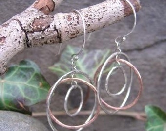 sterling and copper earrings . (( Hammered Globe )) . gyroscope-style dangle earrings . made to order