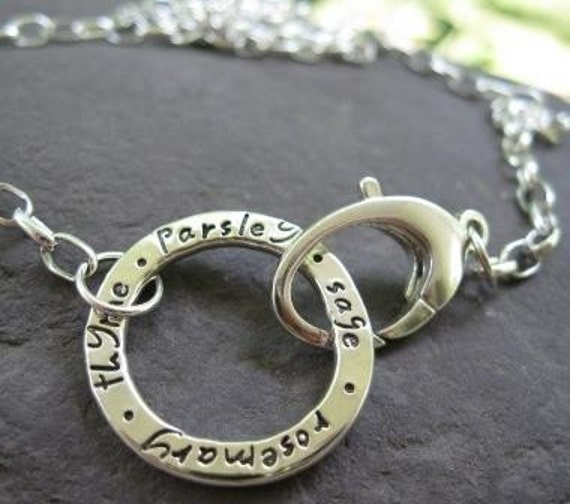 Journal Circle NECKLACE . Parsley, Sage, Rosemary, Thyme . NEW Journaling Lowercase Font . READY TO SHIP in 16 inch length-