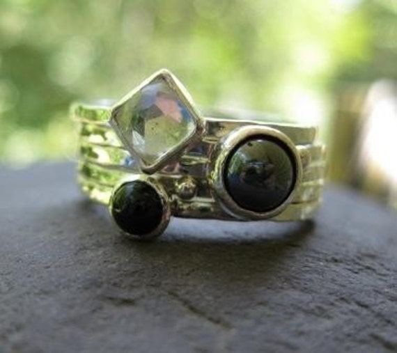 RESERVED for mommymer . sterling silver stacking rings white topaz, hematite, black onyx . ((Rock Star Skinny Stack)) . ooak . size 8 1/2