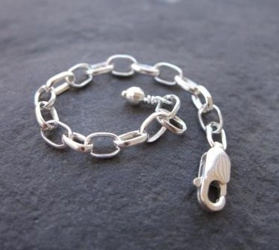 sterling silver chain extender . three inches . heavy duty with large links . READY TO SHIP