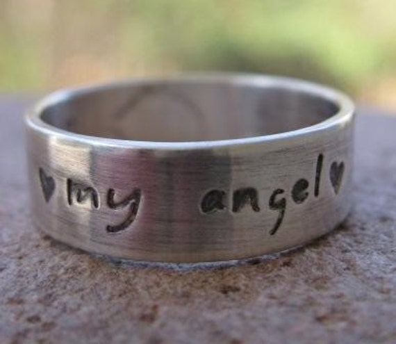 sterling silver personalized message band . (( Sweet Sentiments )) . scripture band . poetry band . custom words . made in your size