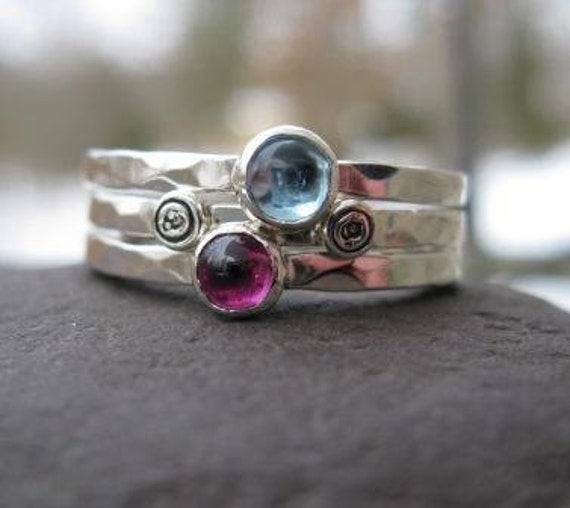 mothers stacking rings . personalized . sterling silver with birthstones . (( Mothers Stackers )) . set of 3 . made to order in your size