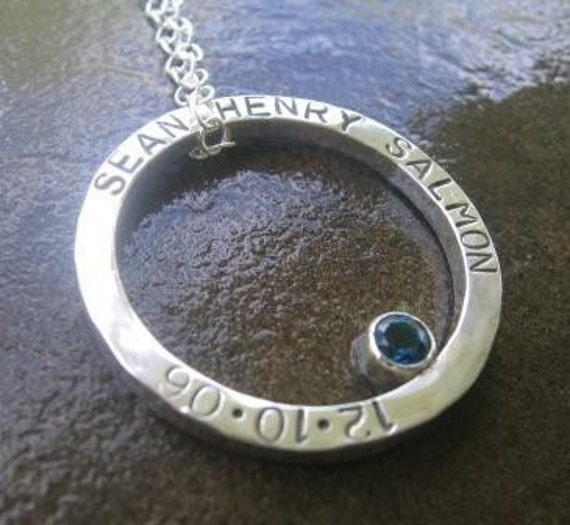 Hammered Circle Pendant with London Blue Topaz -- Inscribed with  a quote, poem or names