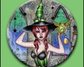 Witch Button - Fantasy Art - Frog Potion Witch Pinback Button - Ashlyn - 2 1/4 Button - by Nikki Burnette