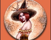 Witch Button - Fantasy Art - Autumn Wiccan Witch Pinback Button - Willow - 2 1/4 Button - by Nikki Burnette