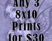 Fantasy Art Prints  - Witch Art - Mermaid Art - Fairy Art - Any 3 Fantasy Art Nikki Burnette 8x10 Prints