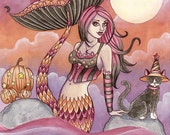 Mermaid Art Print - Krista - 8 x 10 Fantasy Art Print - Halloween Art Print- by Nikki Burnette