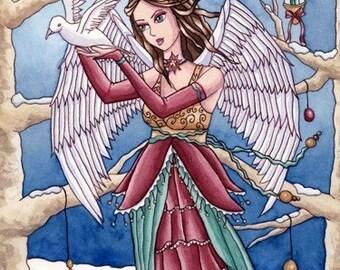 Christmas Angel ACEO Print - Fantasy Art - Dove Snow Winter Fairy - Neva - by Nikki Burnette